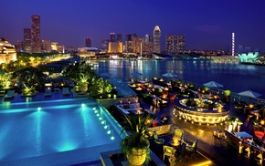 landscape, Singapore, night, lights, swimming pool