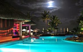 night, swimming pool, palm trees, water