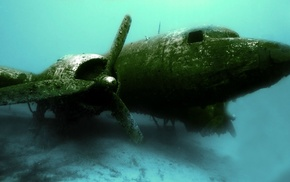 underwater, wreck, airplane
