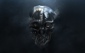 Dishonored, wires, video games, technology, simple background, smoke