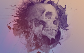 skull, paint splatter, simple background, artwork, teeth, digital art