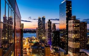architecture, building, urban, rooftops, New York City, reflection