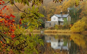 lake, water, landscape, reflection, house, nature