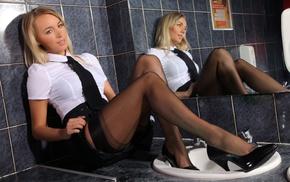 black stockings, girl, white dress, gray eyes, high heels, mirror