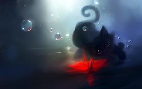 bubbles, paper cranes, kittens, Apofiss, cat