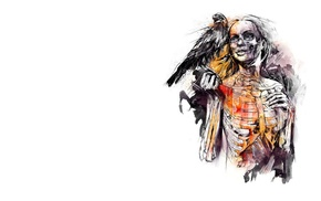 white  background, birds, girl, death, raven, skeleton