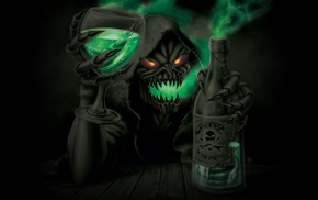 skull, Grim Reaper, death, bottles, skeleton, glasses