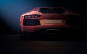 rear view, Lamborghini, orange, Lamborghini Aventador LP700, 4, car