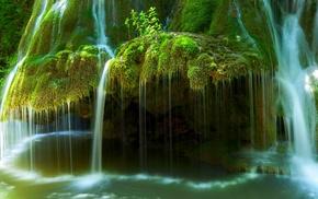 water, nature, Romania, landscape, waterfall, moss