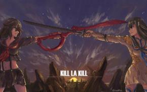 Kill la Kill, sword, Kiryuin Satsuki, anime girls, Matoi Ryuuko