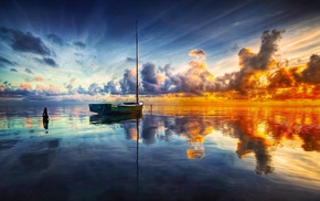 water, nature, reflection, clouds, sunrise, boat