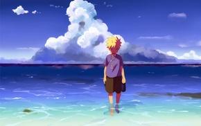 anime boys, sea, Uzumaki Naruto, clouds