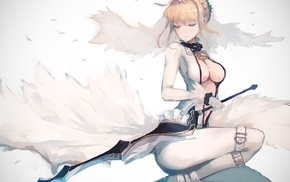 Saber Lily, Saber, sword, legs, anime, Fate Series