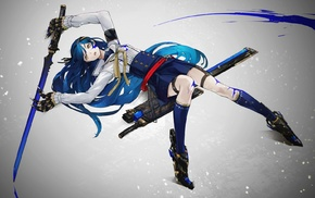 yellow eyes, original characters, blue hair, anime girls, anime, sword