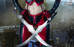 leather pants, leather vest, sword, girl, leather clothing, cosplay