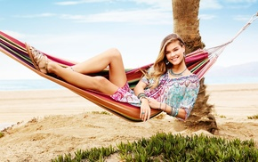 blonde, Danish, Nina Agdal, beach, model, bracelets