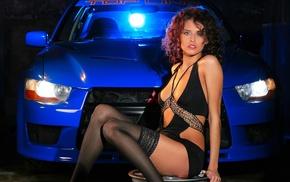 rims, Mitsubishi, black stockings, girl, brunette, car