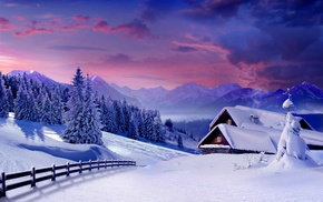 landscape, snow, cabin, mountain, sky, trees