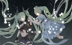 Hatsune Miku, Vocaloid, anime, gloves, multiple display, anime girls