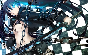 black bras, anime, chains, sword, anime girls, Black Rock Shooter