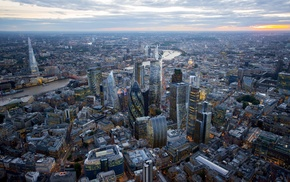 sunset, River Thames, skyscraper, city, London, building