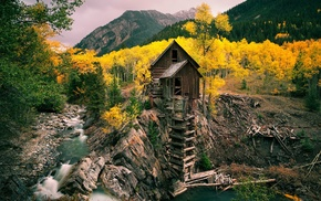 green, nature, water, mill, fall, mountain