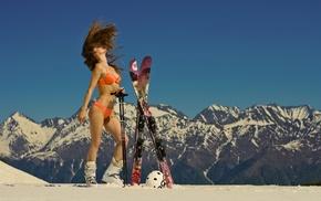 sticks, mountain, closed eyes, brunette, winter, girl outdoors