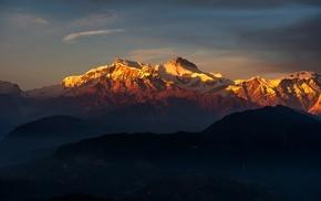 clouds, Himalayas, hill, snow, landscape, Tibet