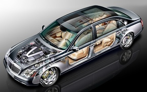 wheels, sketches, engines, vehicle, schematic, Maybach