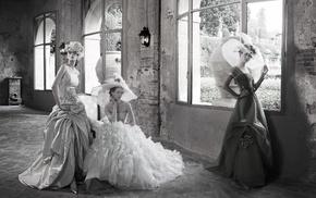 interiors, girl, dress, bricks, model, vintage