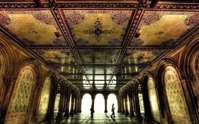 men, columns, interiors, decorations, mosaic, arch