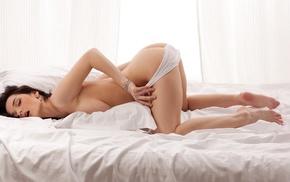 brunette, girl, model, white panties, in bed, Katie Fey