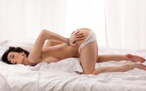 brunette, in bed, white panties, Katie Fey, topless, ass