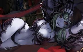 red eyes, green hair, Sylvanas Windrunner, elves, bikini armor, World of Warcraft