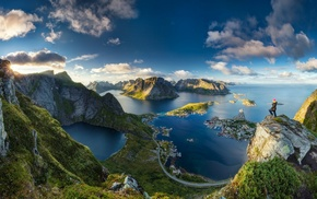 Norway, mountain, water, nature, sunrise, cityscape