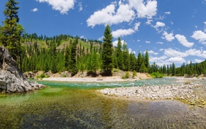 panoramas, nature, summer, landscape, river, hill