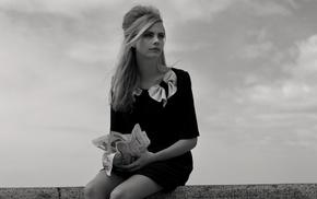 black dress, blonde, celebrity, model, clouds, walls
