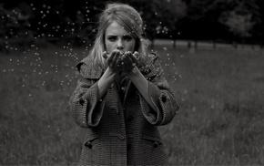 singer, monochrome, blonde, girl outdoors, model, trees
