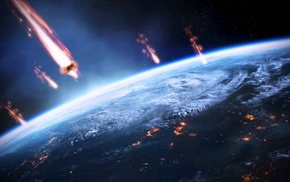 Earth, space, Mass Effect, meteors