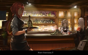 anime girls, original characters, Pixiv Fantasia T, bottles, Archer Natus, bar