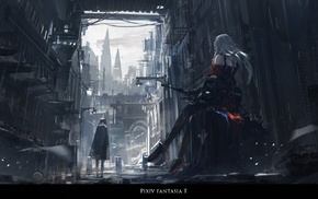 rain, Pixiv Fantasia T, city, Archer Natus, bows, Pixiv Fantasia