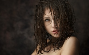 Catherine Timokhina, wet hair, open mouth, brunette, depth of field, face