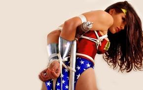 Wonder Woman, tied down, girl, BDSM, cosplay, brunette