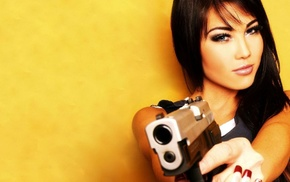 girl, pistol, brunette