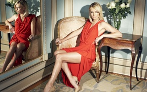 red dress, girl, legs, Charlize Theron