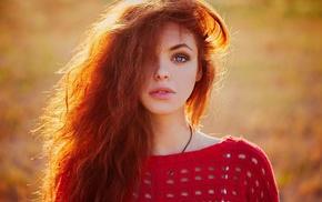 girl outdoors, girl, blurred, redhead, long hair, wavy hair