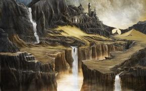 cliff, sand, castle, rock, fantasy art, water