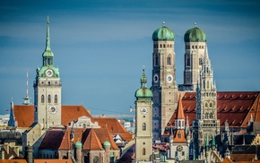 old building, cathedral, clock towers, Germany, rooftops, clouds