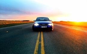 road, sunset, Audi