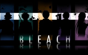 silhouette, Bleach, anime, paint splatter